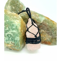 Crystal Pendant Raw Wrapped ROSE QUARTZ