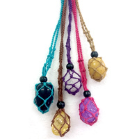 Gem Holder MACRAME BEADED ASSORTED COLOURS Pack of 5