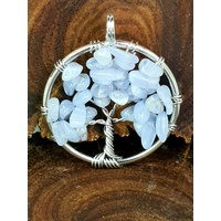Handmade Pendant Tree of Life BLUE LACE AGATE 3cm