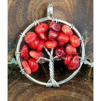 Handmade Pendant Tree of Life RED CORAL 3cm