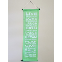 Hanging Wall Banner LIVE LOVE LAUGH Green