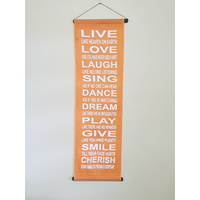 Hanging Wall Banner LIVE LOVE LAUGH Orange