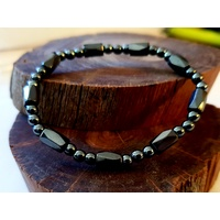 Magnetic Hematite Bracelet - TRIPLE BALL WITH BEAD