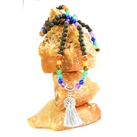Mala Necklace CHAKRA Crystal & LAVA STONE -Tree of Life
