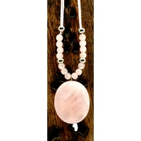Pebble Necklace ROSE QUARTZ No Diamante