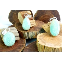 Silver Plated Gemstone Pendant AMAZONITE