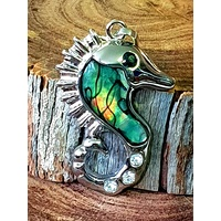 Silver Plated Seahorse Pendant with Paua Shell