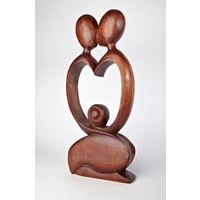 Wooden Statue KISSING COUPLE LOVE 40CM